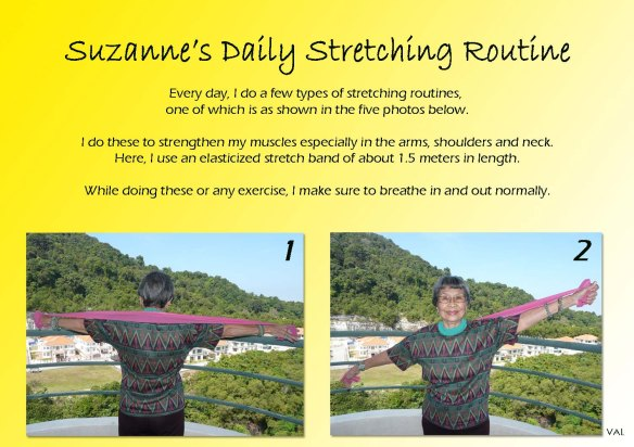 Suzanne stretching with rubber band stretcher 1